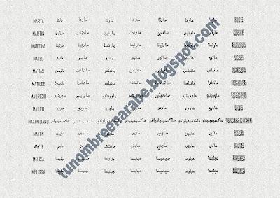 Los nombres de MARTA,  MARTÍN,  MARTINA,  MATEO,  MATIAS,  MATILDE,  MAURICIO,  MAURO,  MAXIMILIANO,  MAYEN,  MAYTE,  MELISA,  MELISSA escritos en árabe