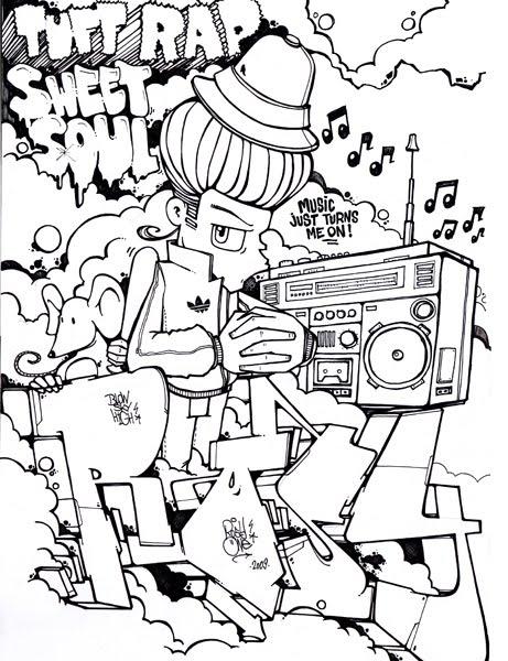 Graffiti Coloring Book 3 : Multicultural graffiti art free printable coloring pages