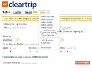 Cleartrip - PNR Status Checking