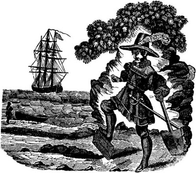 Captain Kidd burying his bible, from Pirates' own book