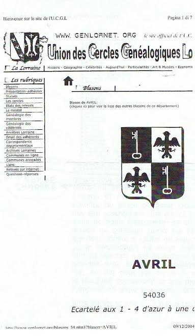Arme dell'abbate Avril  de Burey Anjou  duca di  Chateau  de Bures .