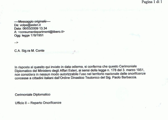 Non puo' definirsi dinastico Ordine di Barbaccia perche' non discende da Federico II, ne' da Walpot