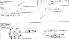 cert.anamnestico Aprile von Hohenstaufen Puoti Gelsomina