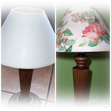 Se decoran pantallas de lámparas/Lampshades are decorated