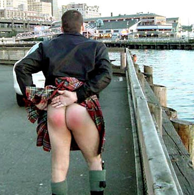 This fella got spanked this morning for wearing shorts under his kilt .