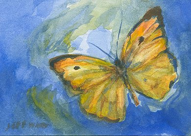 ACEO butterfly watercolor painting