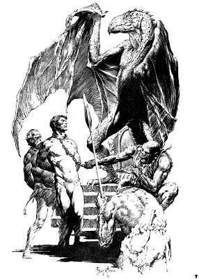 Frazetta ink drawing