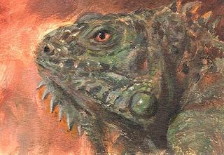 ACEO iguana acrylic painting