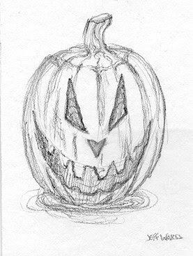 halloween pumpkin sketch ACEO