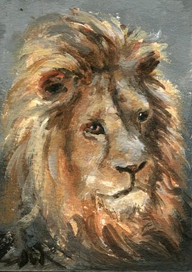 lion painting aceo