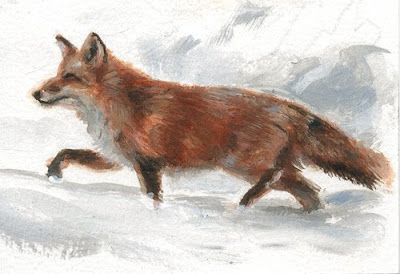 fox in snow acrylic painting aceo