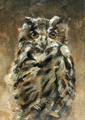 owl painting aceo