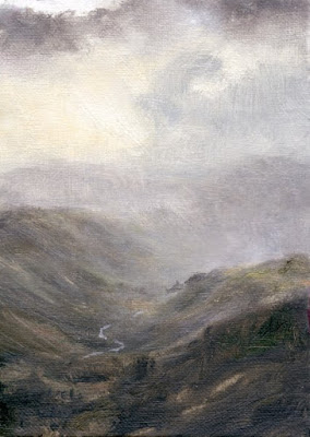 misty valley landscape painting