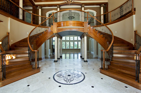 Beautiful double curved staircases in tn luxury stairs for Double curved staircase