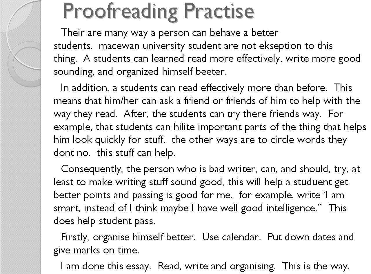 Online proofreading and editing worksheets