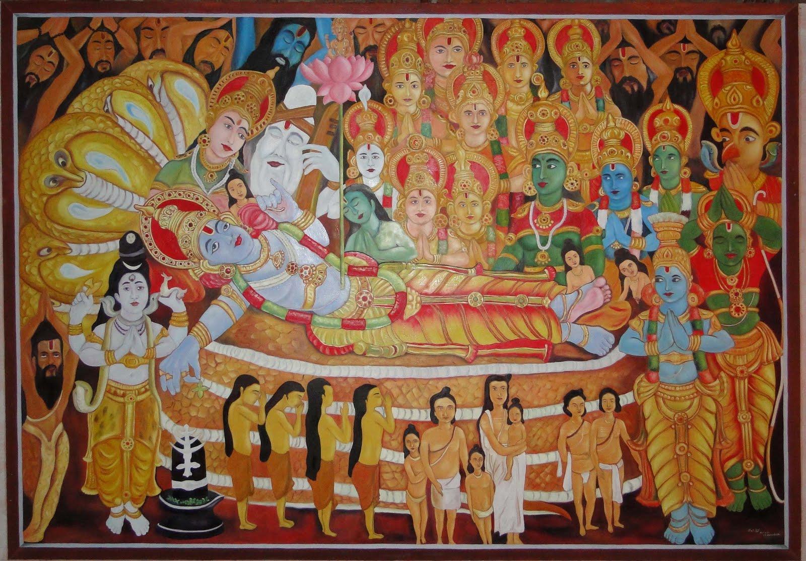 Vaikkara sree mahavishnu temple for Ananthasayanam mural painting