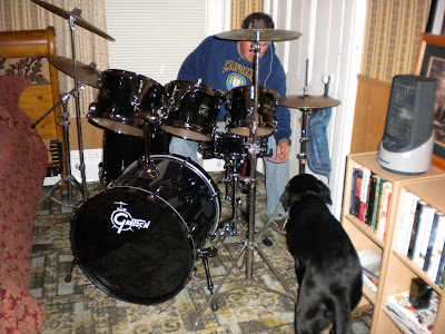 Dagan approaching the drum set