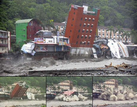 Buildings are fall down by flood in Taiwan