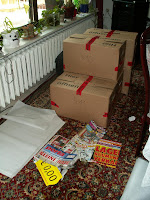 Kartons im Wohnzimmer
