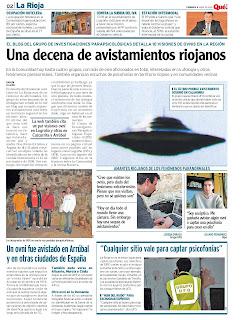 Portada del diario Que! de La Rioja del 9 de abril de 2010