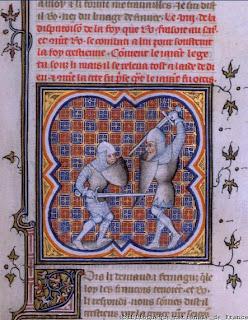 Grandes Chroniques de France (Siglo XIV), combate entre Roldán y Farragut