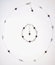 BLacK BeauTy sWaRoVsKi cRysTaL & PeaRL sTeRLiNg SiLVeR NecKLaCe