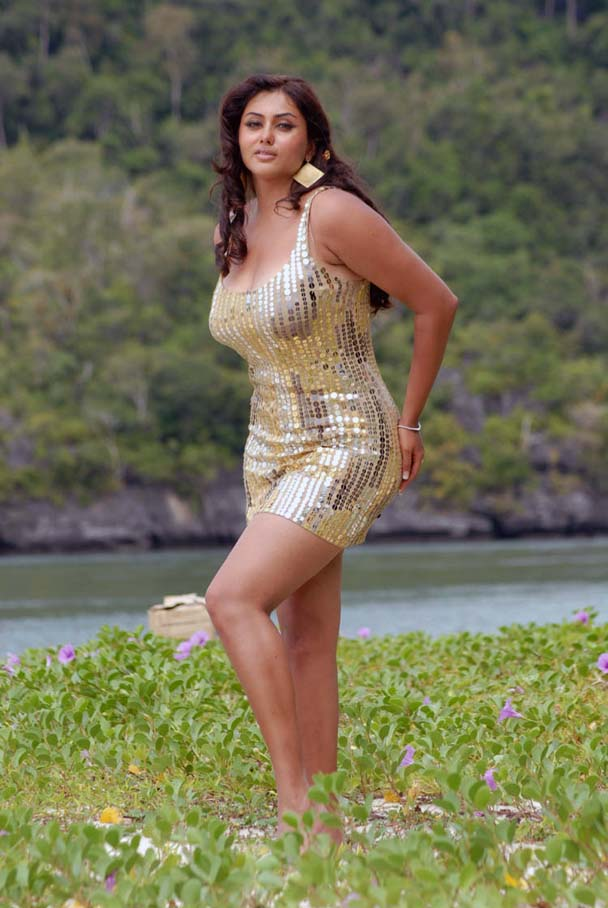 Namitha Hot Beach Pics in Golden Dress