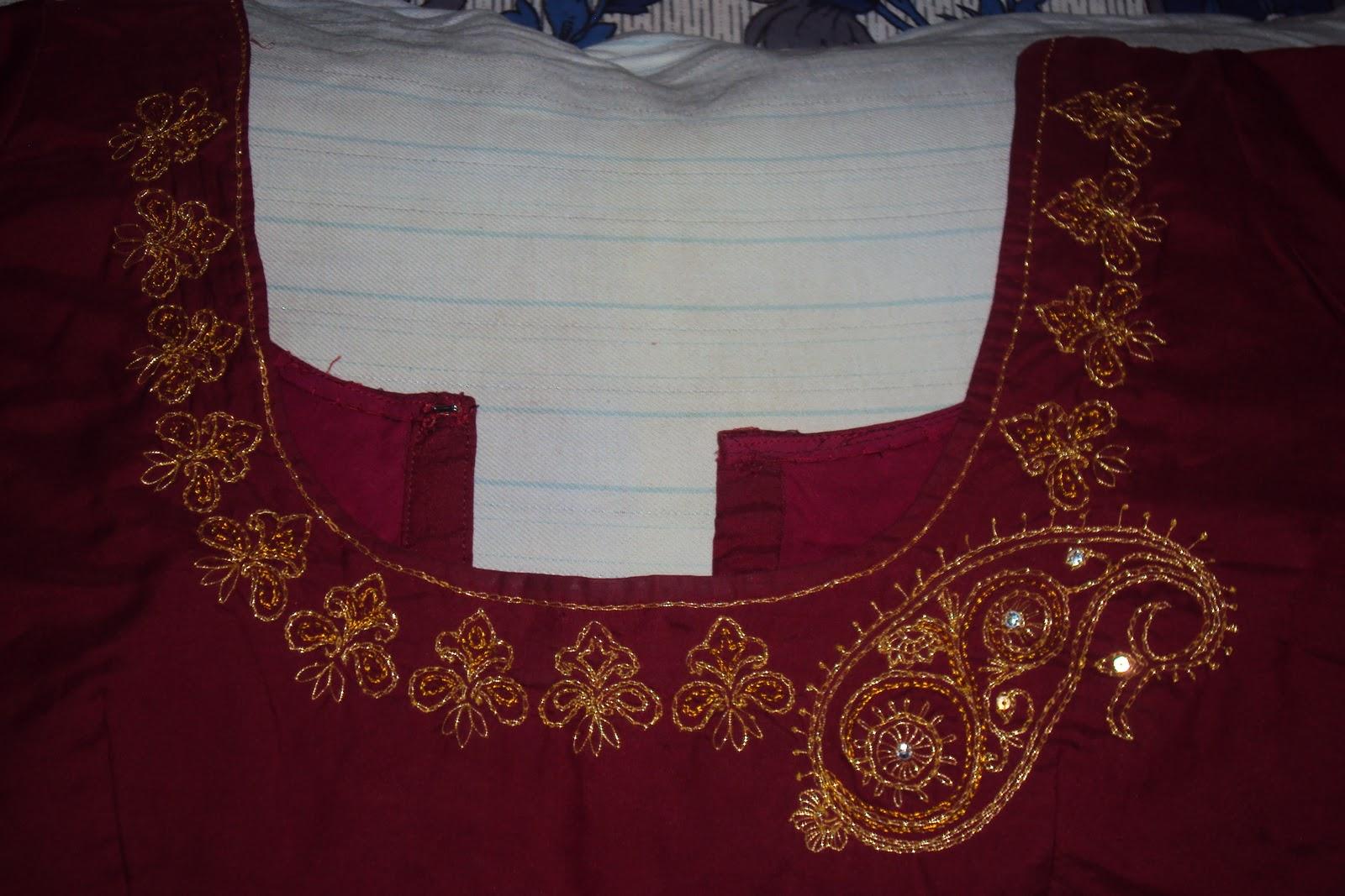 Creative hall saree blouse neck line embroidery