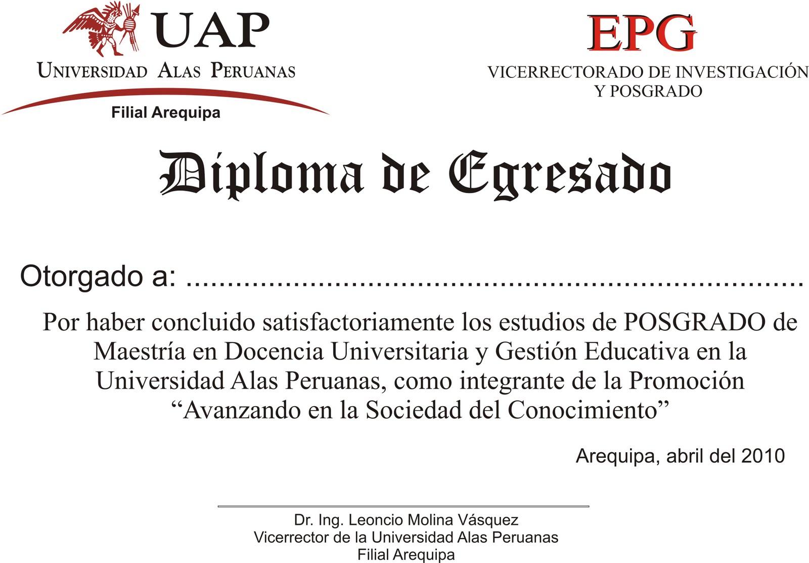 Modelo De Diploma Aprobado Por La Oficina De Imagen Insucional De