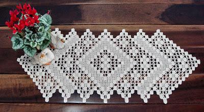 Bicos de croche para toalha de mesa retangular