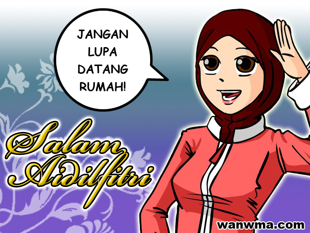 Kad Raya Kartun Muslimah - Ajilbab.Com Portal