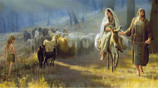 Image result for Joseph with Mary on a donkey