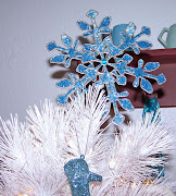 My blue and white tree is decorated. Just finished this afternoon.