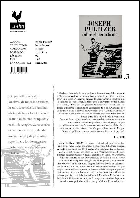 Sobre el periodismo - Joseph Pulitzer - ficha