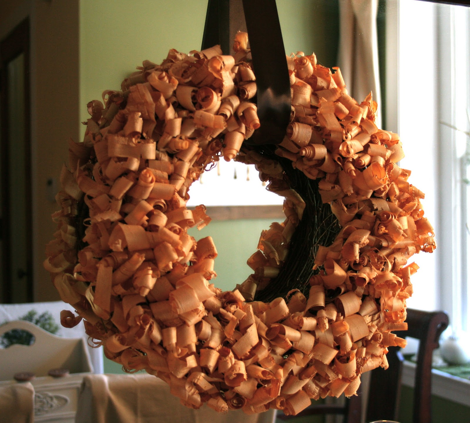 Wood shavings wreath and buffet vignette home stories a to z