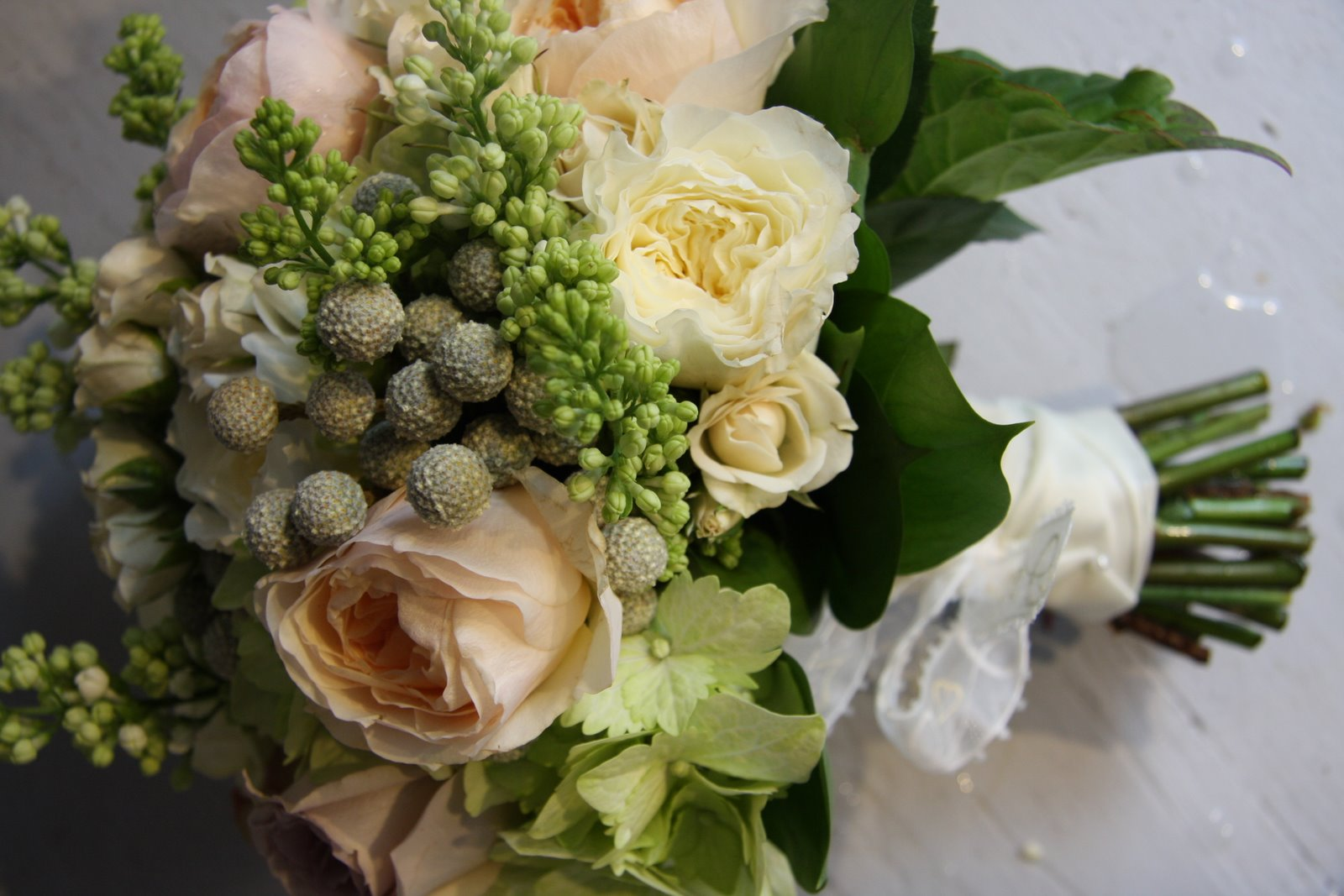 The flower magician apricot pale gold wedding bouquet for Gold flowers for wedding bouquet