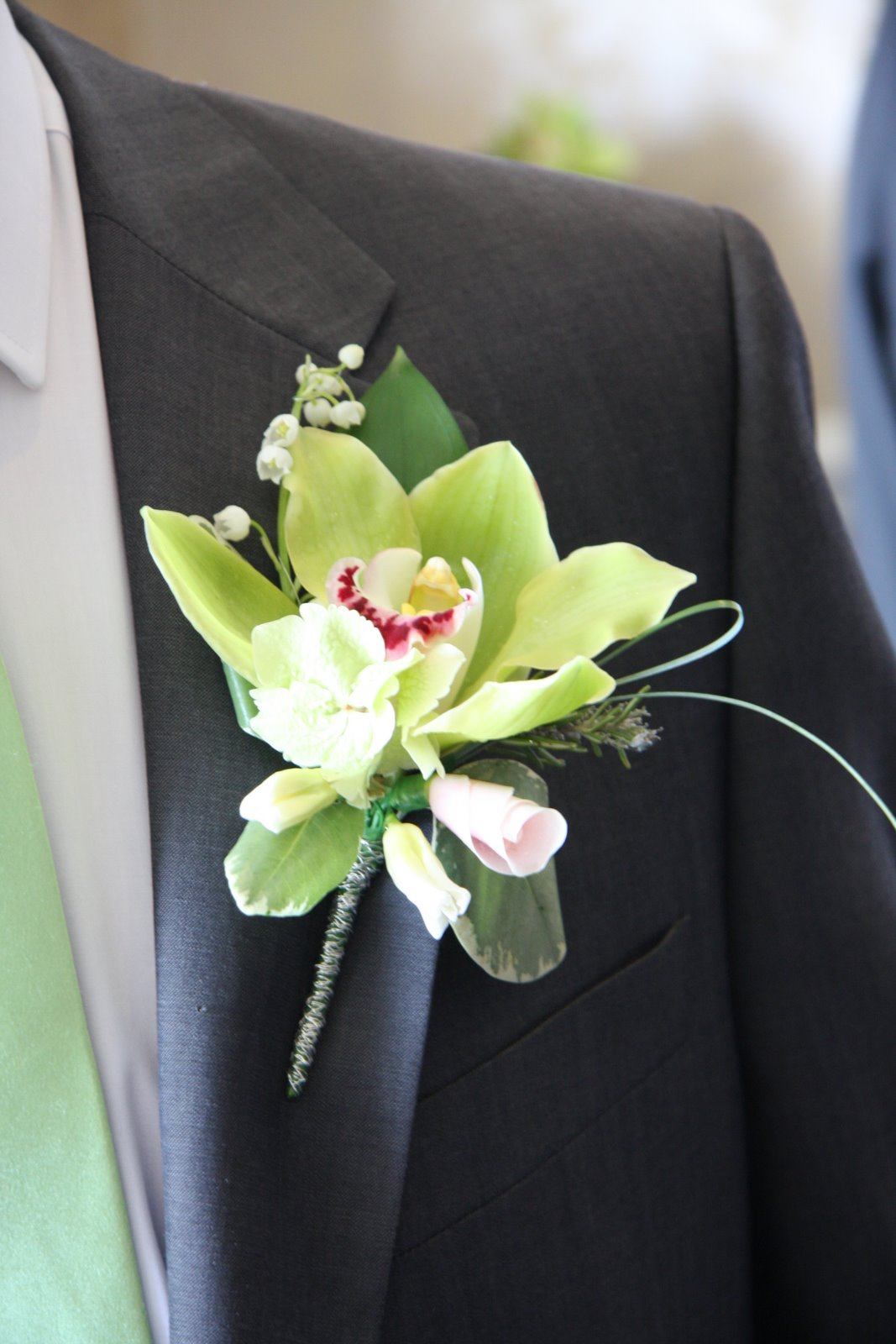 Flower Design Buttonhole & Corsage Blog Groom s Green Orchid Boutonn
