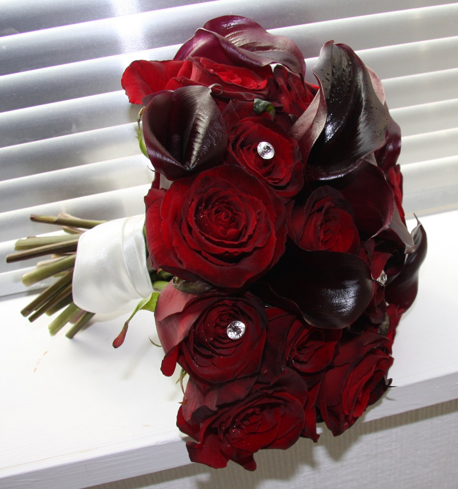 The Flower Magician Passionate Wedding Bouquet Of Red Roses Amp Black Calla Lilies