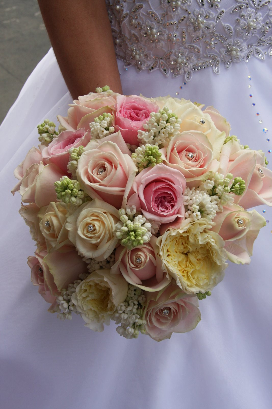 The Flower Magician Simple Cream Pink Wedding Bouquet