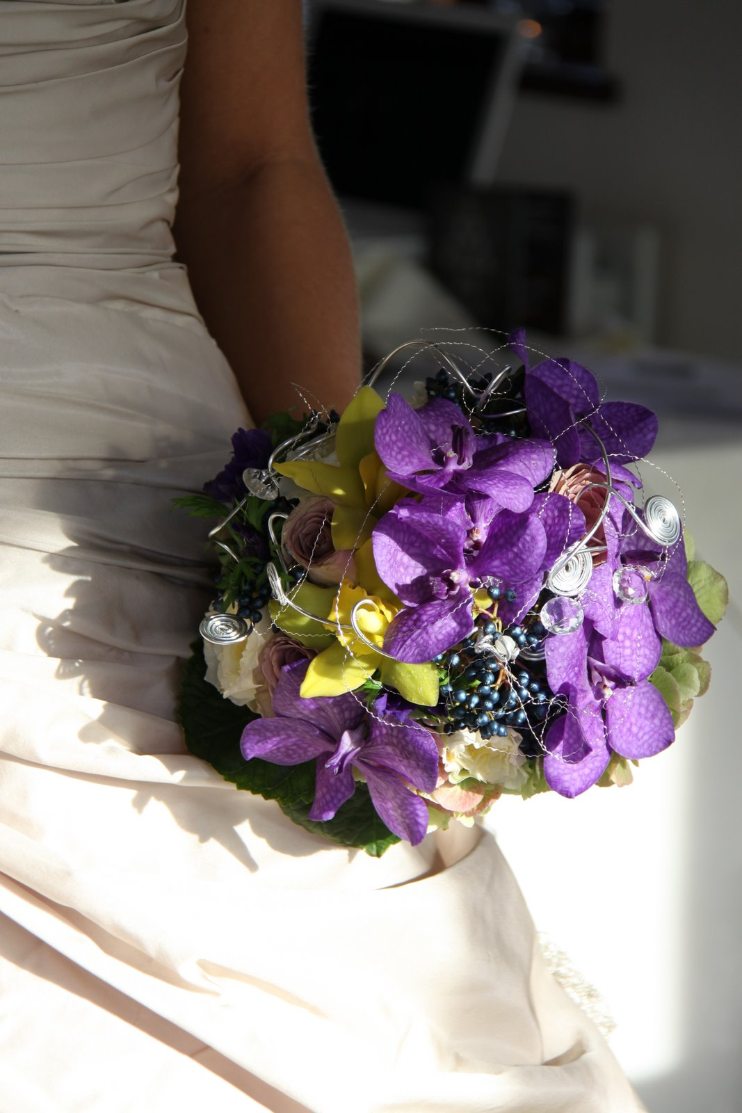The Flower Magician Deep Purple Amp Lime Green Orchid Wedding Bouquet