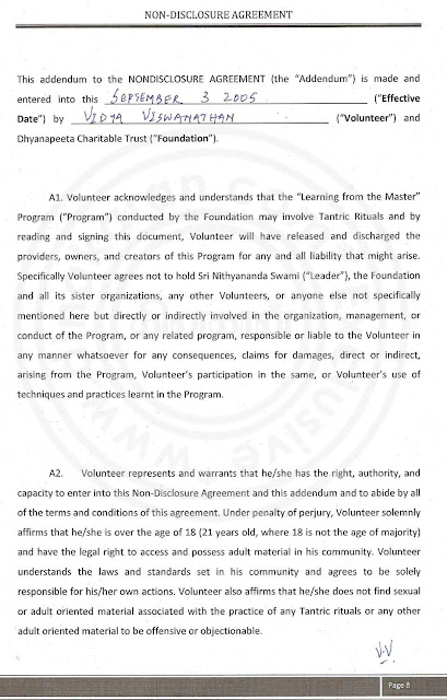 Nithyananda Agreement paper with lady devotee- page 8