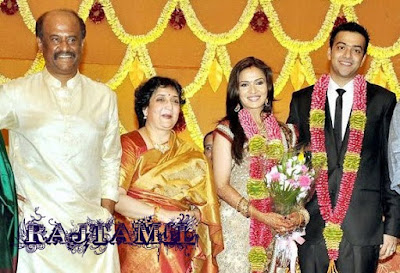 Rajinikanth visits Thirupathi Temple with newly wed couple