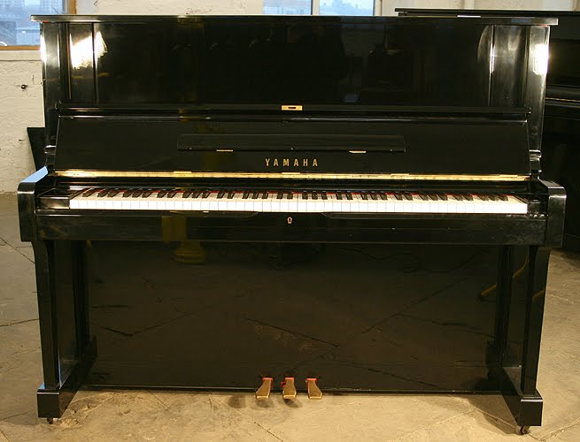 Yamaha pianos yorkshire black yamaha yus upright piano for Yamaha piano upright