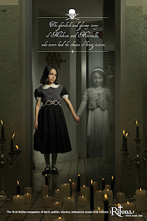 Ad for Ritual Magazine showing a young girl holding hands with the ghost of her dead twin.  Creepy, but beautiful.