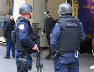 Police officers surround Frankenstein in NYC