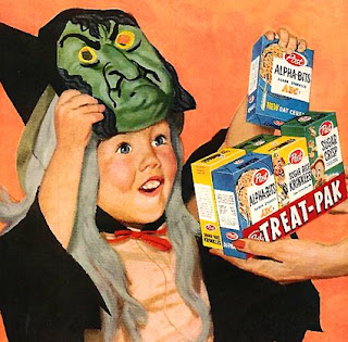 Vintage advertisement showing a woman handing out boxes of cereal to trick or treaters in costume on Halloween