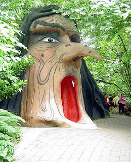 Giant witch head shaped house at Enchanted Forest theme park