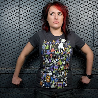 a woman wearing a t-shirt featuring 68 different monsters