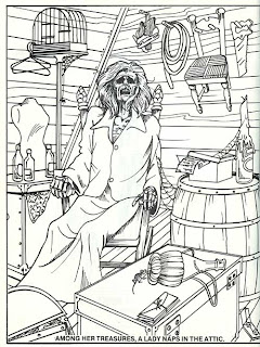 A page from the Haunted Mansion coloring book showing a corpse
