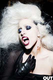 Lady Gaga with vampire bites on her neck